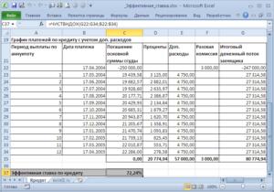 Расчет эффективной процентной ставки по кредиту в Excel